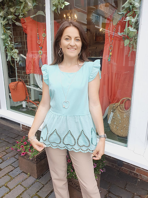 Diana Embrodiery Top Mint