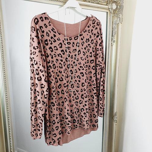 Leopard Fine Print Top Caramel