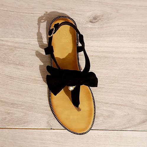 Lucy Black Suede  Bow Sandal