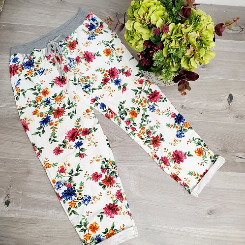 Tilly   White Floral Joggers Size 2