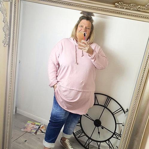 Chelsea Cowl Neck Top Light Pink