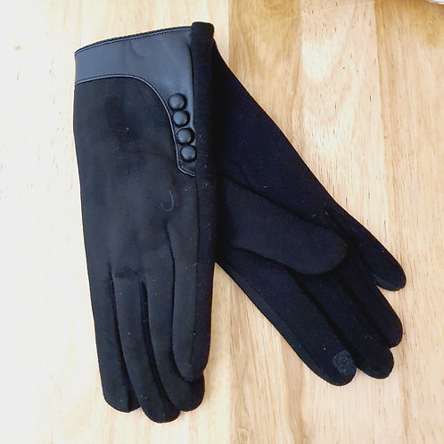 Button Style Gloves Black