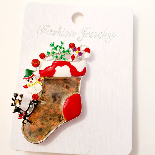 Christmas Stocking Magnet Brooch