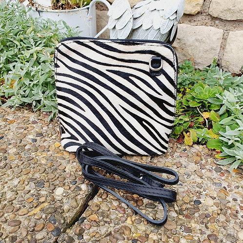Denver  Leather Animal Print Bag Zebra