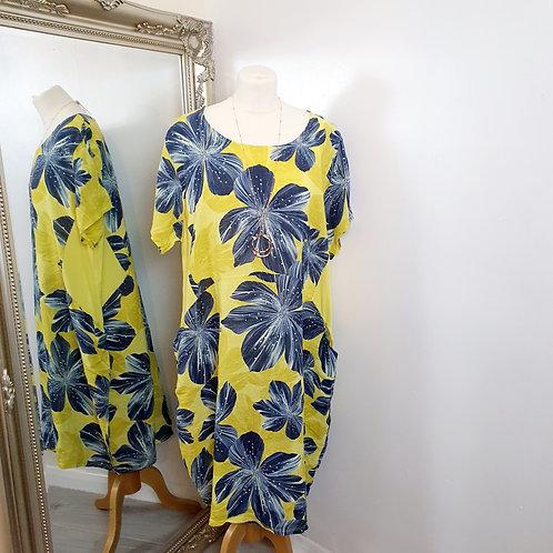 Lily Linen Dress Yellow
