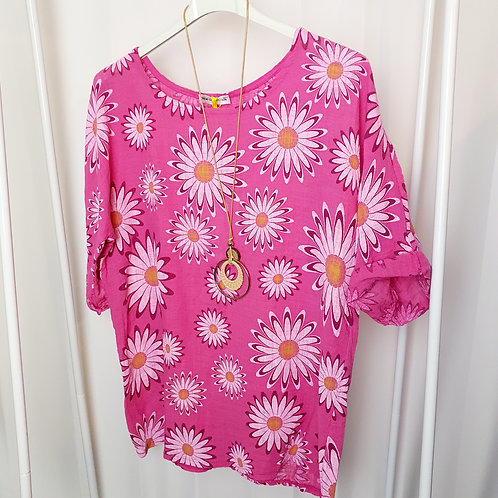 Daisy Top Hot Pink