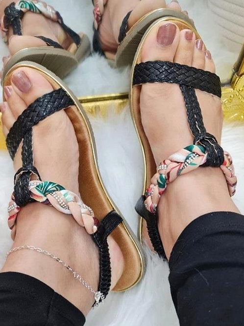 Danielle Plaited Sandal Black