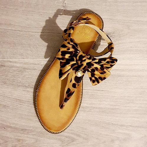 Lucy Leopard Suede  Bow Sandal