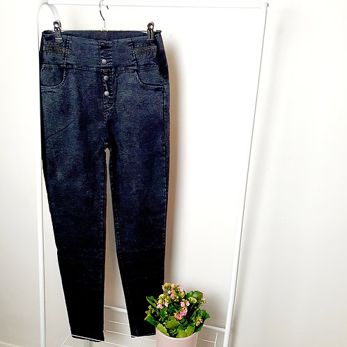 Dian High Waisted Treggings Denim Black