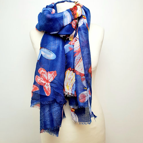 Butterfly Shimmer Scarf Cobalt Blue