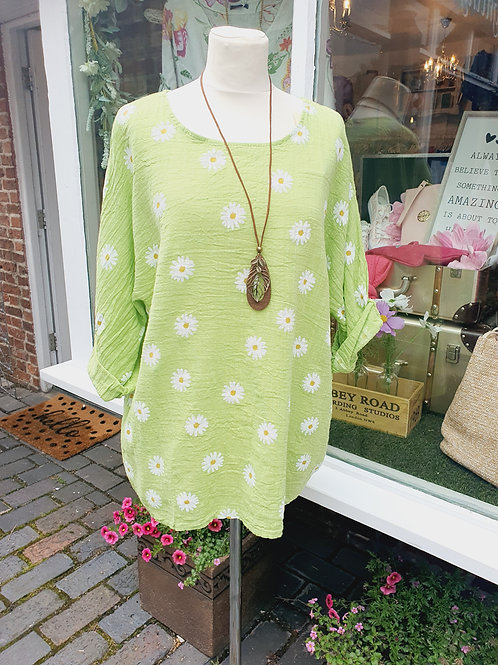 Daisy Top With Necklace Lime