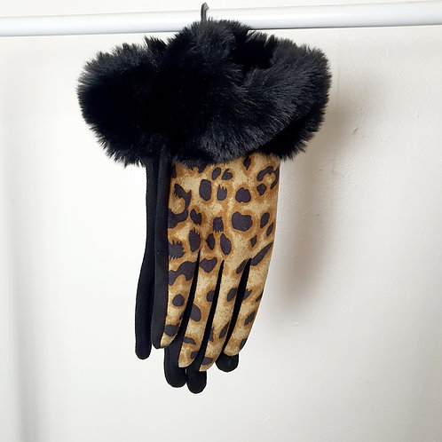 Leopard Faux Fur Gloves