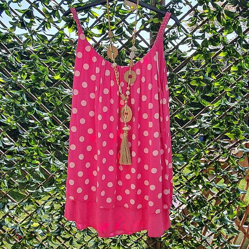 Dotty Vest Top Hot Pink