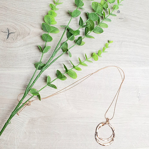Double Circle Necklace Rose Gold
