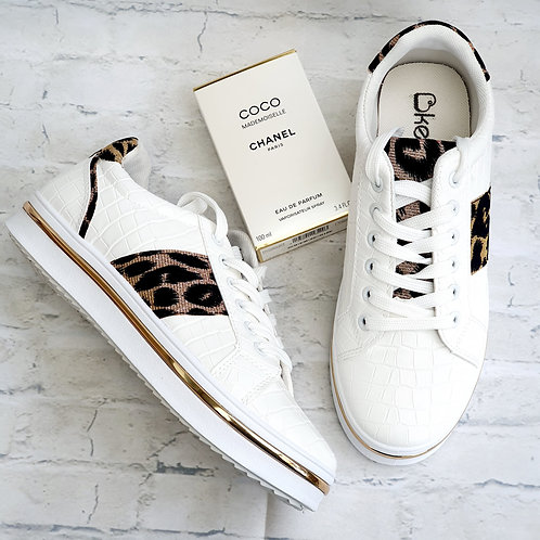 Milano Leopard Trainers White