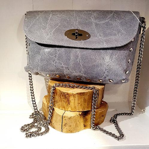 Leather Cross body Bag Grey