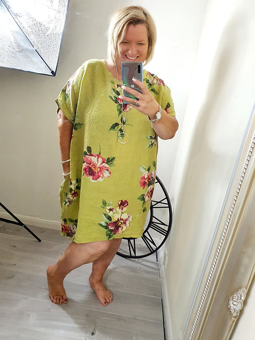Beatina Floral Tunic Lime Green