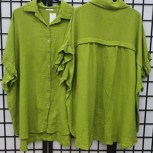 Italian Frill Arm Shirt Lime