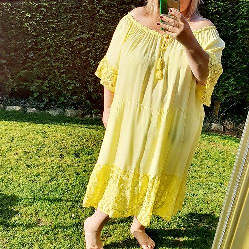 Nicole Midi Dress Lemon