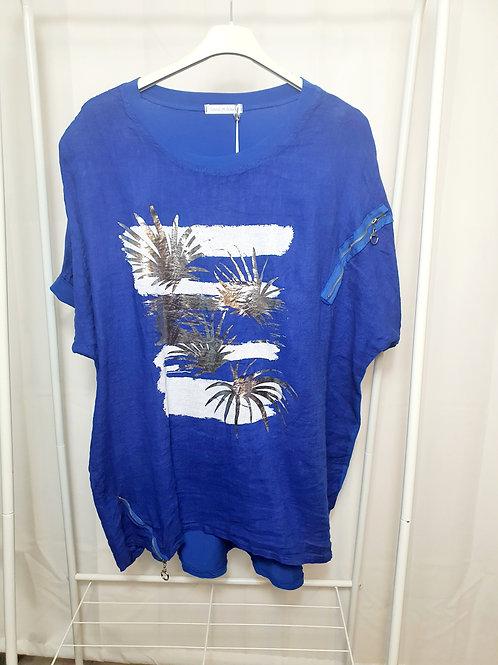 Palm Foil Top Cobalt Blue