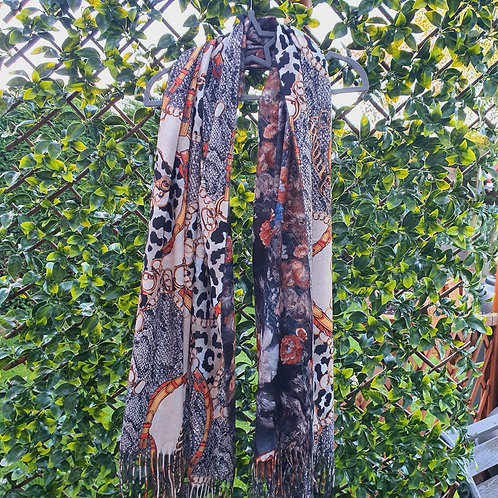 Two Design Soft Pashmina Scarf Black