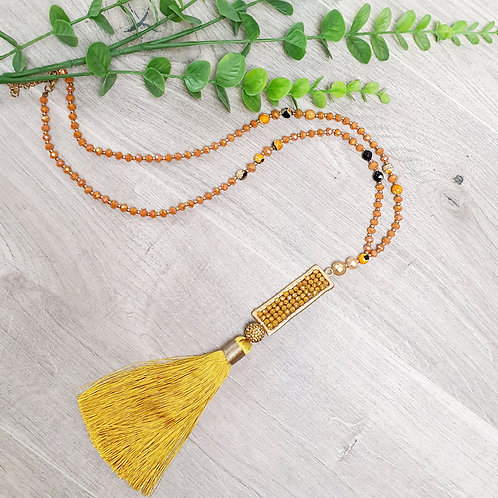 Oceana Tassel Necklace Orange/Yellow