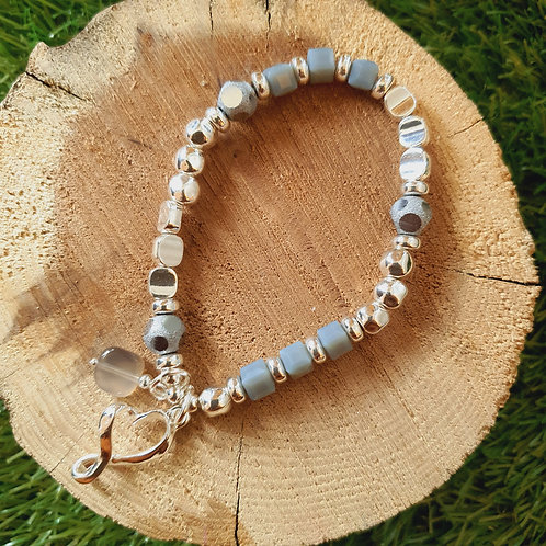 Grey Silver Elasticated Bracelet