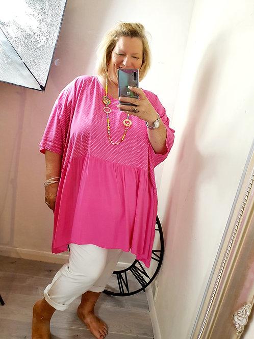 Oversized Spotty Top Hot Pink