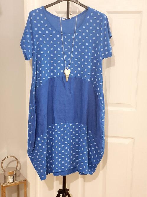 Dotty Dress Cobalt Blue