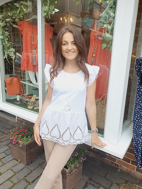 Diana Embrodiery Top White