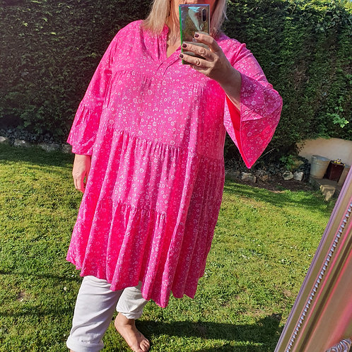Sophia Smock Dress Hot Pink