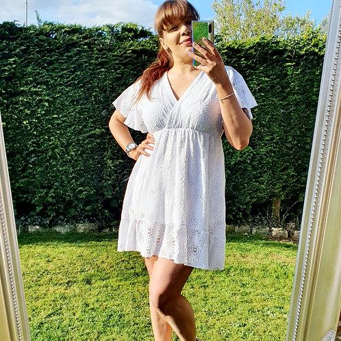 Amber Lace  Dress White