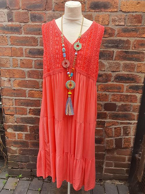 Zelly Crochet Dress Coral