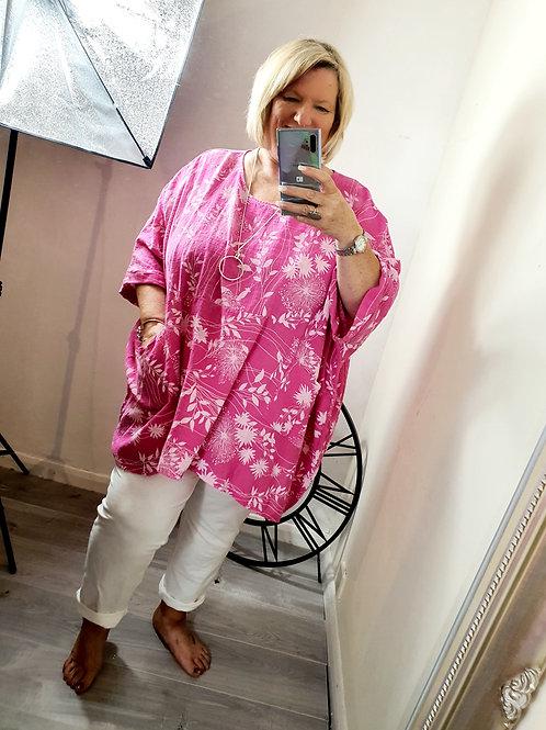 Melissa Oversized Top Hot Pink