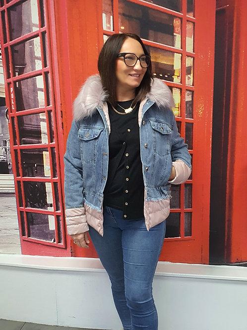 Dakota Denim Puffer Jacket Pink