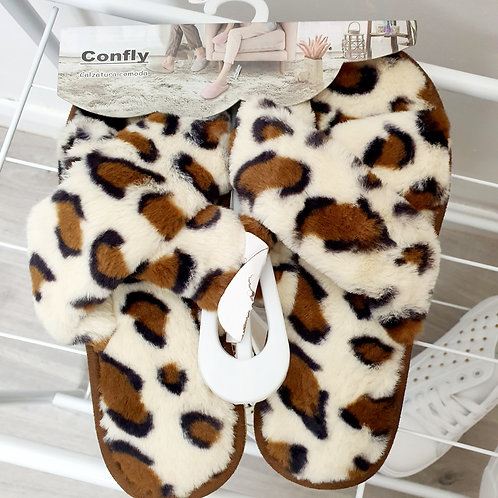 Leopard Slippers Size 3/4 only