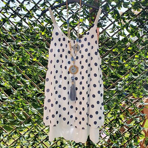 Dotty Vest Top White