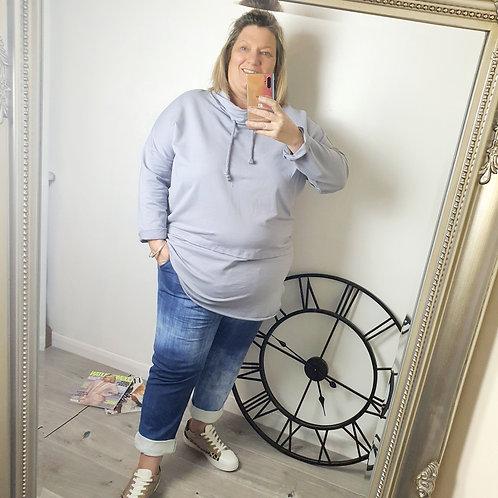 Chelsea Cowl Neck Top Grey