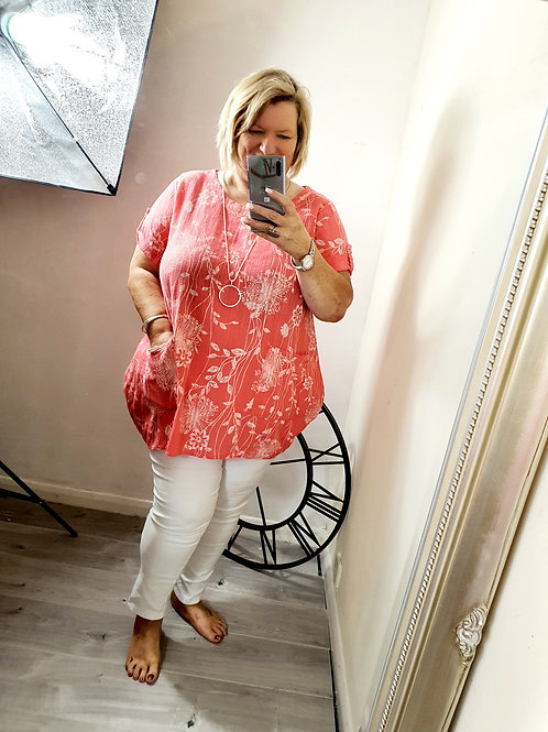 Mila Two Pocket Top Coral