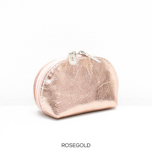 Leather Coin Purse Metallic Rose Gold