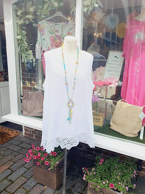 Lucy Crochet Vest Top White