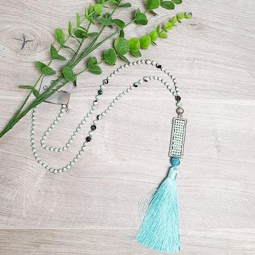 Oceana Tassel Necklace Teal