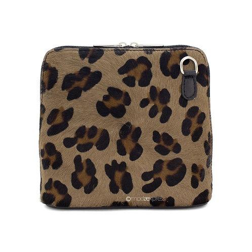 Denver  Leather Animal Print Bag Leopard