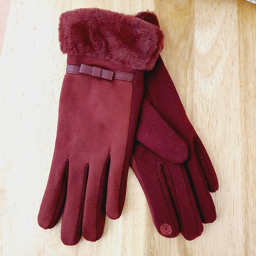 Fur Trim Style Gloves Berry