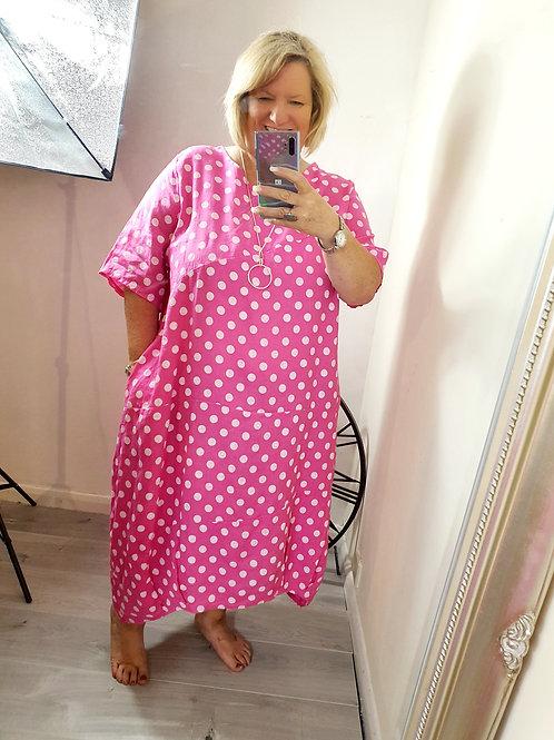 Trudie Dotty Dress Hot Pink