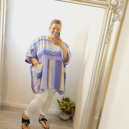Lucy Oversized Linen Top Lilac