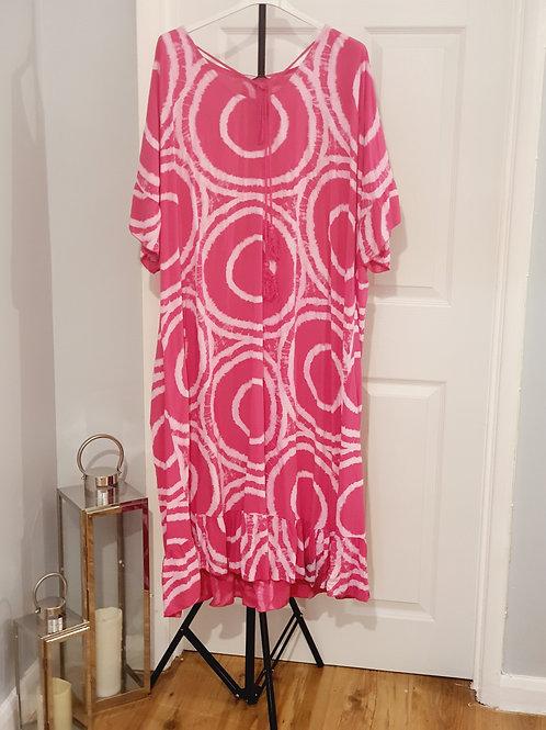 Tye Dye Maxi Dress Hot Pink