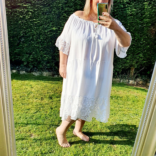 Nicole Midi Dress White