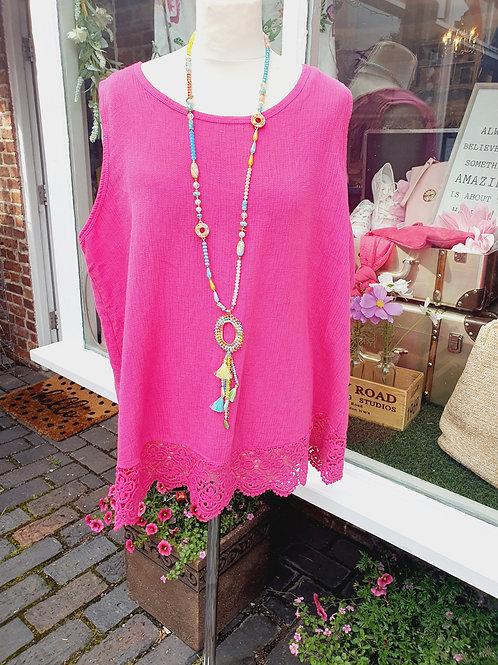 Lucy Crochet Vest Top Hot Pink
