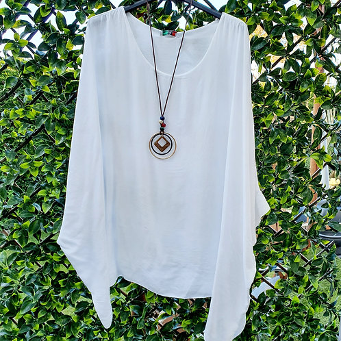 Adele Floaty Top & Necklace White